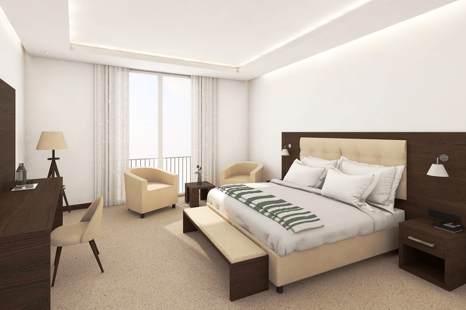 1.double bed room_hotel furniture_equipment project (1)