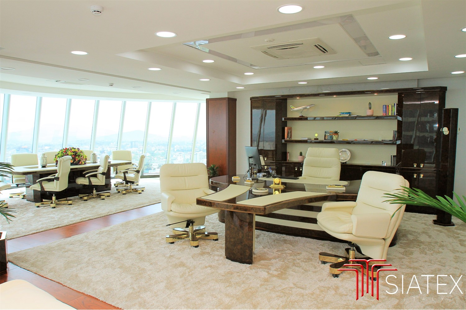 3.office furniture project_luxury ceo desk chairs and bookcase (1)
